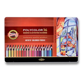 Obrázek produktu Umělecké pastelky Koh-i-noor Polycolor 3825 - plechová krabička, 36 barev
