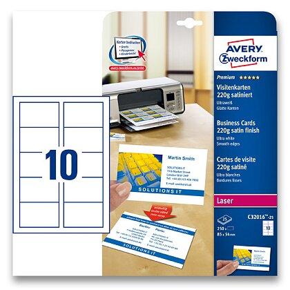 Obrázek produktu Avery Zweckform - vizitkový karton - 220 g, matný natíraný karton, 25 archů
