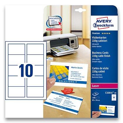 Obrázek produktu Avery Zweckform - vizitkový karton - 220 g, matný natíraný karton, 10 archů