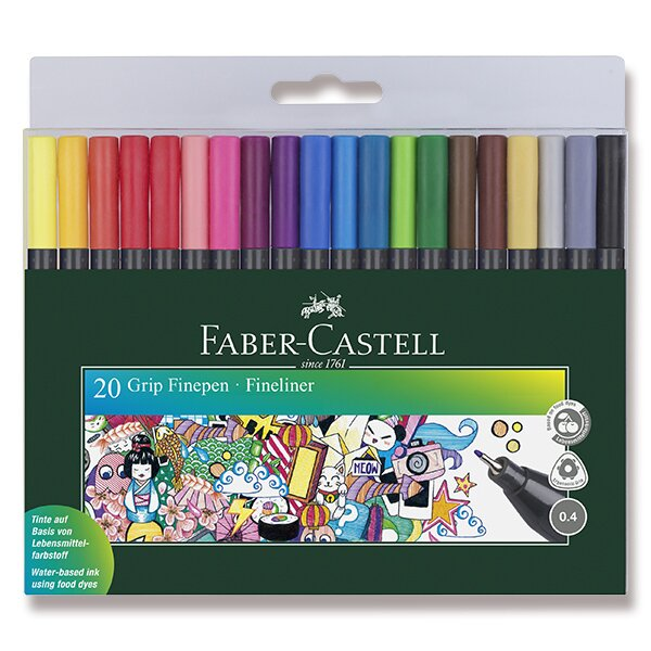 Fineliner Faber-Castell Grip 20 ks, 0.4 mm