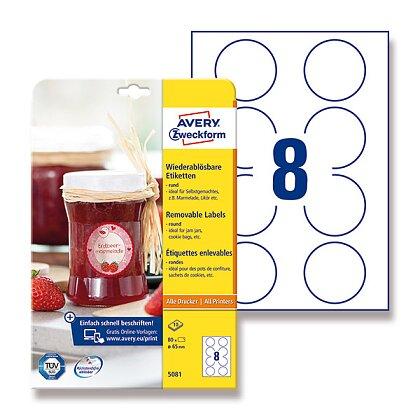 Obrázek produktu Avery Zweckform - etikety ve speciálních tvarech - kruh, 65 mm, 80 etiket