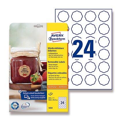 Obrázek produktu Avery Zweckform - etikety ve speciálních tvarech - květina, 40,8 x 40,3 mm, 240 etiket