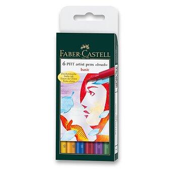 Obrázek produktu Popisovač Faber-Castell Pitt Artist Pen Brush - 6 ks, základní barvy