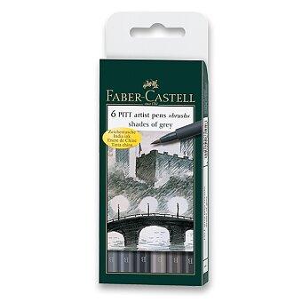 Obrázek produktu Popisovač Faber-Castell Pitt Artist Pen Brush - 6 ks, odstíny šedé