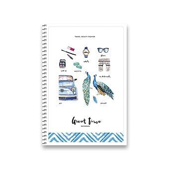 Obrázek produktu Kroužkový blok Shkolyaryk bílý - B6, čtverečkovaný, 120 listů, mix motivů