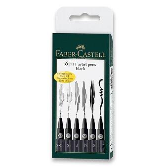 Obrázek produktu Popisovač Faber-Castell Pitt Artist Pen - sada 6 ks, XS, S, F, M, B, C, černé