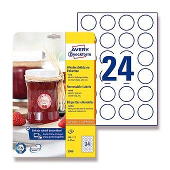 Obrázek produktu Bílé odnímatelné etikety Avery Zweckform - průměr 40 mm, 240 ks