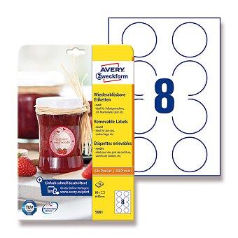 Obrázek produktu Bílé odnímatelné etikety Avery Zweckform - průměr 65 mm, 80 ks