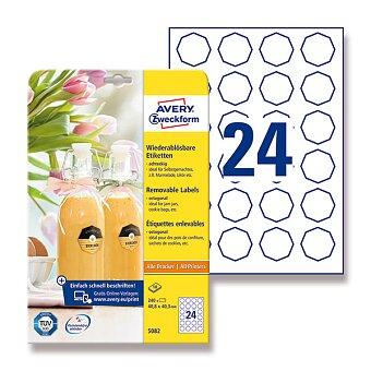 Obrázek produktu Bílé odnímatelné etikety Avery Zweckform - osmihran 40,8 x 40,3 mm, 240 ks