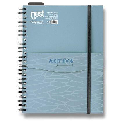 Obrázok produktu Foldermate NEST - špirálový blok s vreckom- A5, 80 listov, modrý
