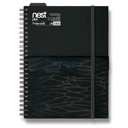 Obrázok produktu Foldermate NEST - špirálový blok s vreckom- A5, 80 listov, čierny