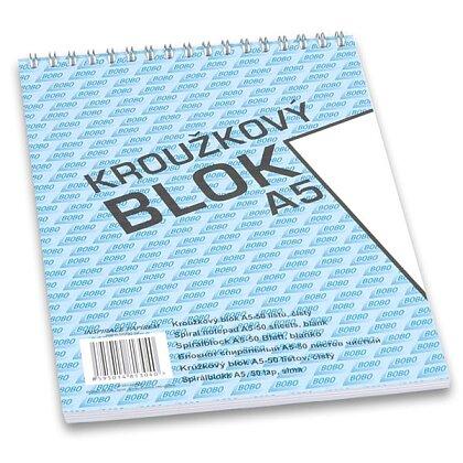 Obrázek produktu Bobo blok - kroužkový blok - A5, 50 l., čistý