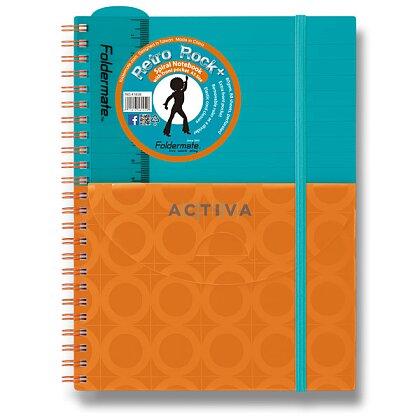 Obrázok produktu Foldermate PLUS - špirálový blok s vreckom- A5, 80 listov, tyrkysovo/oranžový