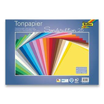 Obrázek produktu Barevné papíry Folia 35 x 50 cm - 130 g, 25 archů, 25 barev