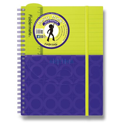 Obrázok produktu Foldermate PLUS - špirálový blok s vreckom- A5, 80 listov, žlto/fialový