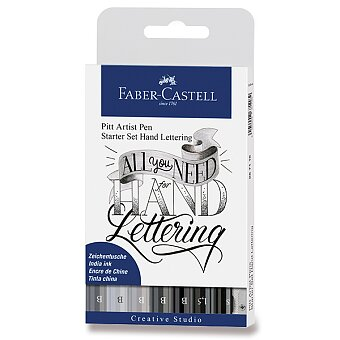 Obrázek produktu Popisovač Faber-Castell Pitt Artist Pen Hand Lettering - sada 9 ks, černošedé barvy