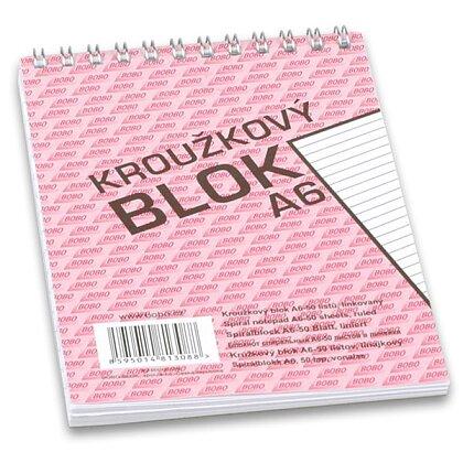 Obrázek produktu Bobo blok - kroužkový blok - A6, 50 l., linkovaný