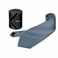 SANTINI QUARDO - hedvábná pánská kravata v dárkovém pouzdře, modrá