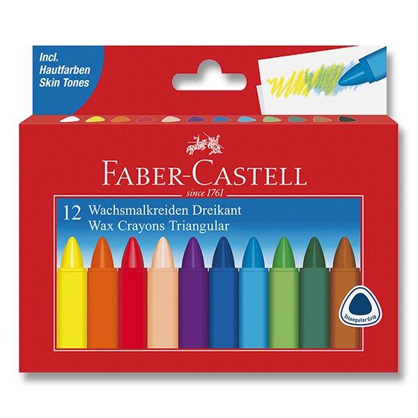 Voskovky Faber-Castell Wax Triangular Crayons 12 barev, trojhranné