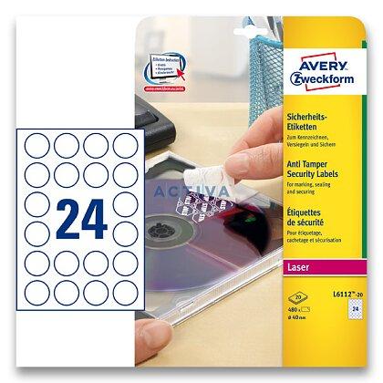 Obrázek produktu Avery Zweckform - bezpečnostní etikety - průměr 40 mm, 480 etiket