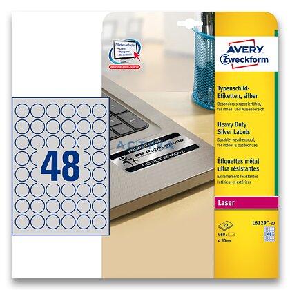 Obrázek produktu Avery Zweckform - stříbrné PET etikety - kulaté 30mm 960 etiket