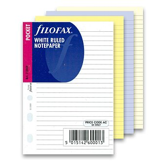 Obrázek produktu Poznámkový papír, linkovaný - náplň kapesních diářů Filofax, výběr barev