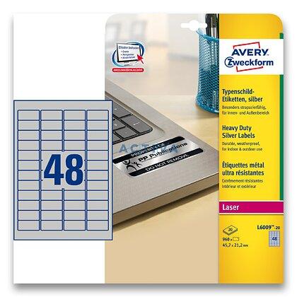 Obrázek produktu Avery Zweckform - stříbrné PET etikety - 45,7×21,2 mm, 960 etiket